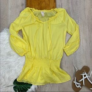 Sundance Yellow Peasant Drop Waist Blouse D3039